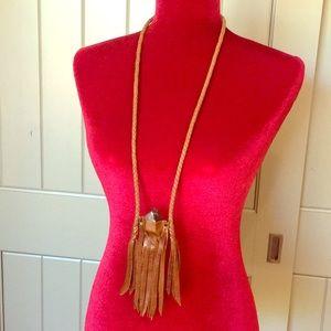 "FP Medicine bag with crystal 27"" necklace"